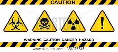 Set Of Hazard Warning Signs. Black Yellow Triangle Warning Safety And Caution Signs. Information Haz