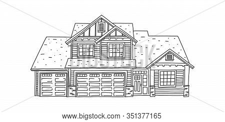 Banner Sketch Modern Comfortable Private House. Renting Private House. Assembly And Installation Who
