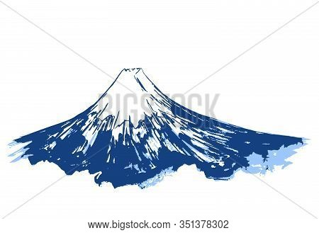 Fuji Mount Ink Paint Hand Drawn Art Design, Japanese Mountain In Vector Paintbrush Calligraphy Style