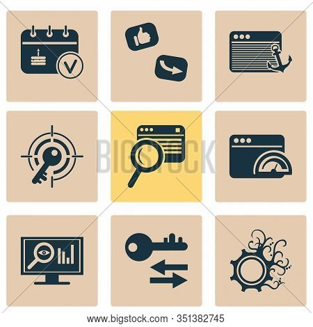 Business Icons Set With Events Calendar, Sort Keywords, Target Keyword And Other File Elements. Isol