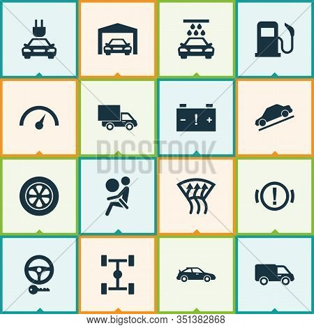 Auto Icons Set With Handbrake Warning, Garage, Van Control Elements. Isolated Vector Illustration Au
