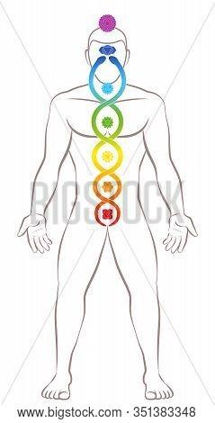 Kundalini Yoga. Meditating Standing Man With Chakras And Kundalini Serpent, Symbolic For Spiritualit