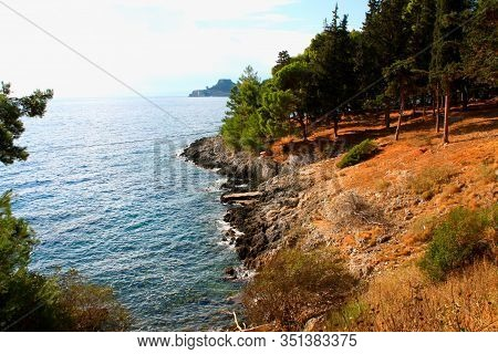 Corfu Island In Greece With Forset And Costline