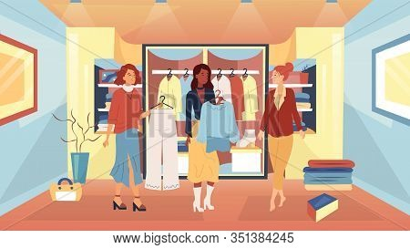Wardrobe Parsing Concept. Women Designers Help To Parse Wardrobe For Woman Customer. Happy Woman Is