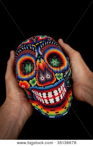 Colourful skull from mexican traditional huichol bead art symbol of the day of the dead poster