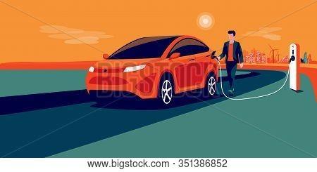 Electric Car Charging On City Skyline Landscape, Renewable Power Generation Solar Panel, Wind Turbin