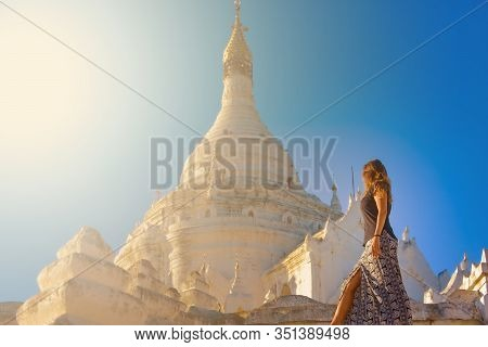 Attractive Woman Poses In Front Of Myatheindan Pagoda White Temple Near Irrawaddy River Myanmar