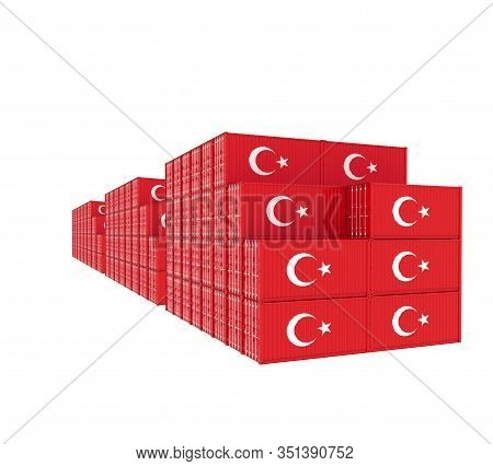 Three Group Cargo Containers On White Background. 3d Illustration.