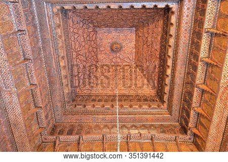 Kairouan, Tunisia - December 10, 2019: The Sidi Abid El Ghariani Zaouia, With An Ornate Ceiling
