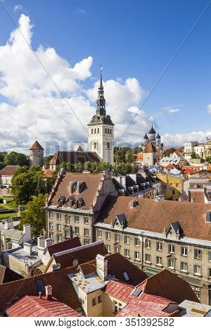Aerial View Of Tallinn Old Town From Town Hall Tower, With St. Nicholas Church (niguliste) And Alexa