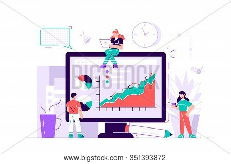 Concept Of Success, Reach A Goal, Vector Illustration Of Business, Employees Study Infographics, Ana