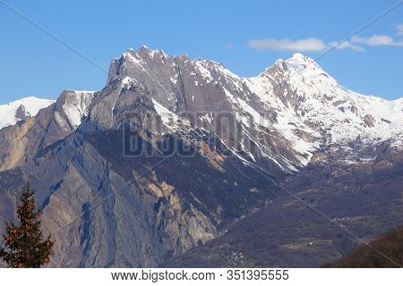 French Alps Winter Snow - Ragged Peaks With Snow. Croix Des Tetes Mountain In Savoie, France.