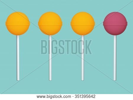Simple Minimal Variety 3d Illustration With Lollipops On Solid Background Stock Photo