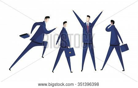 Young Man Wearing Formal Suit Talking By Phone And Raising Hands Up In Triumph Vector Set