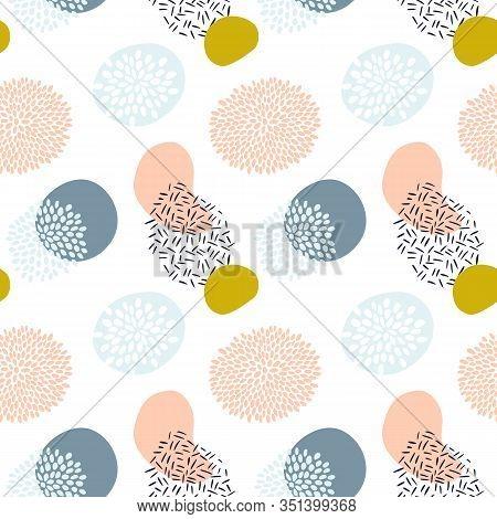 Abstract Cute Seamless Polka Dot Circle Pattern Background. Pastel Geometric Vector Seamless Pattern