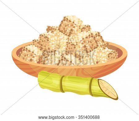 Cut Sugar Cane Stem Refined Sugar In Cubes Rested In Wooden Bowl Vector Illustration