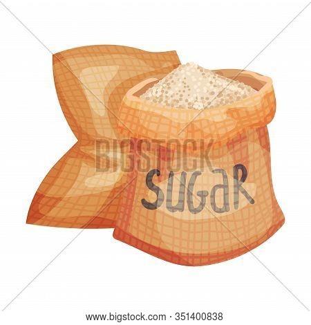 Refined Brown Sugar Poured In Sacks Vector Illustration
