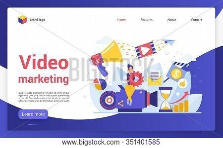 Video Marketing Campaign Website Landing Page Flat Cartoon Vector Illustration. Social Networks Medi