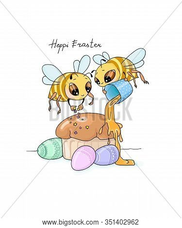 Vector Illustration Heppy Easter Two Bees Decorate Easter