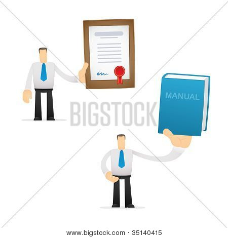 funny cartoon office worker in various poses poster