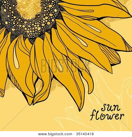 Sunflower Vector Background Greetings Card