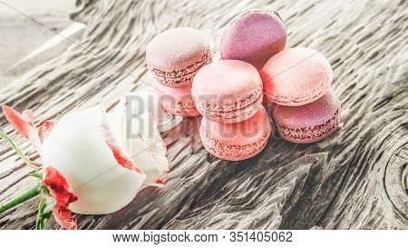 Raspberry And Strawberry Pink Macaroons On Pastel Valentine Decor And Rose Flowers Soft Background,