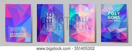 Facet Triangles Bright Brochure Covers Vector Graphic Design Set. Diamond Texture Low Poly Patterns.