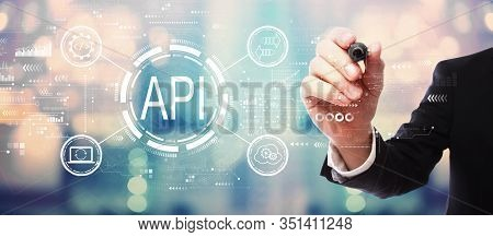 Api - Application Programming Interface Concept Api Concept With Businessman On Blurred Abstract Bac
