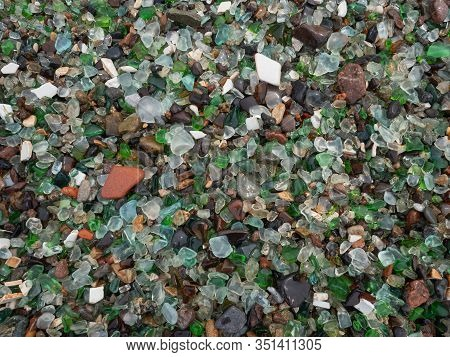 Bright Background Of Glass Fragments, Honed By Sea Waves