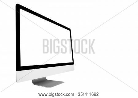Laptop Computer Pc With Blank Screen Mock Up Isolated On White Background. Laptop Isolated Screen. P