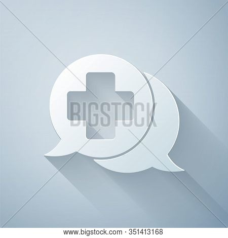 Paper Cut Dialogue With The Doctor Icon Isolated On Grey Background. Doctor And Patient Dialog. Cons