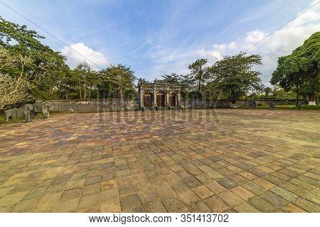12-juanuary 2020, Minh Lau Pavilion At Minh Mang Emperor Tomb In Hue, Vietnam