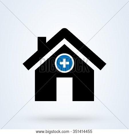 Hospital Icon. Medical Sign. Health Center Icon. Clinic Building, Healtcare, Polyclinic Symbols. Doc