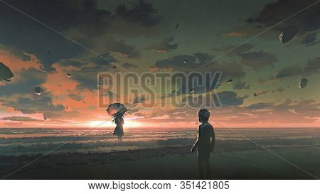 A Boy Looking At The Mysterious Woman With Umbrella Standing In The Sea Against Sunset Sky, Digital