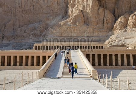 Luxor, Egypt - January 16, 2020 : The Mortuary Temple Of Hatshepsut, Also Known As The Djeser-djeser