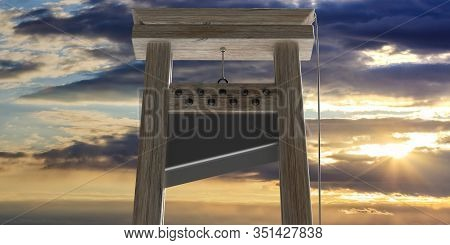 Guillotine Against Cloudy Sky At Sunrise Background. 3D Illustration