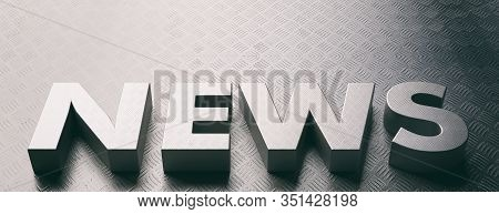 News Word Text, Metal Checkerplate Sheet Letters Material And Background, Industrial Metallic Sheet