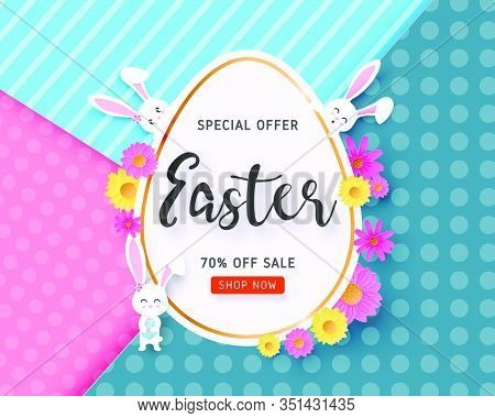 Happy Easter Sale Banner With Easter Egg, Bunny And Flower On Background In Paper Cut Style. Vector