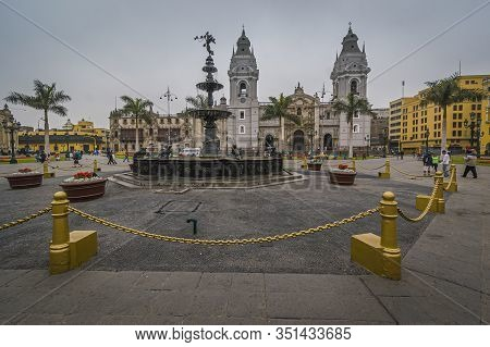 Lima, Peru, Oct 2008 -the Plaza De Armas, Also Known As The Plaza Mayor, Sits At The Heart Of Limas