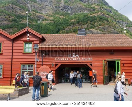 Flam, Norway- July 21, 2018: Ticket Office And Picturesque Homs. Flåm Is A Village In The Flomsdalen