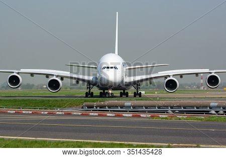 Paris / France - April 24, 2015: Air France Airbus A380 F-hpji Passenger Plane Arrival And Landing A
