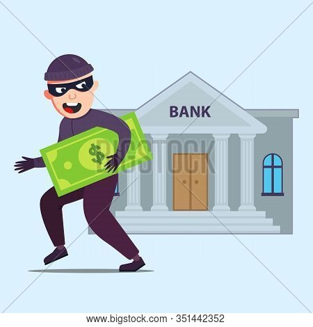 The Criminal With Money Runs Out Of The Bank That Robbed. Flat Character Vector Illustration.