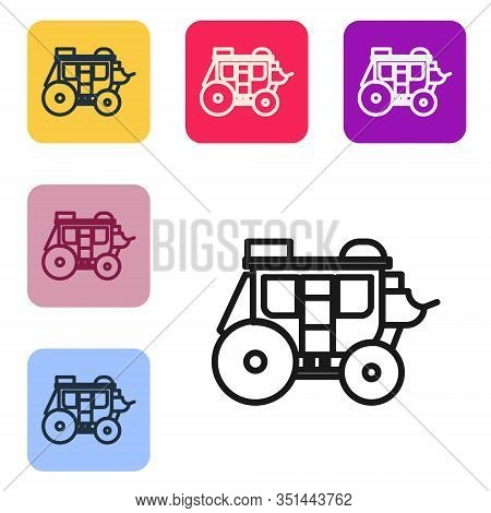 Black Line Western Stagecoach Icon Isolated On White Background. Set Icons In Color Square Buttons.