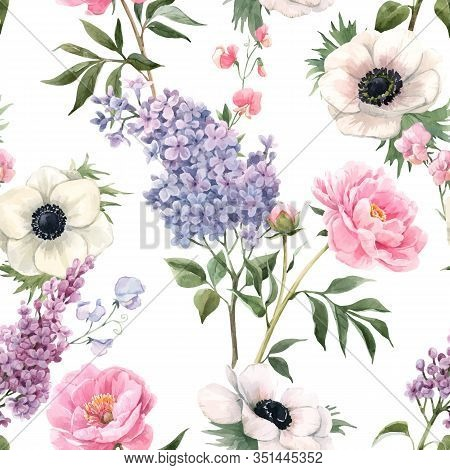 Beautiful Vector Seamless Floral Pattern With Watercolor Anemones, Lilac And Peony Flowers. Stock Il