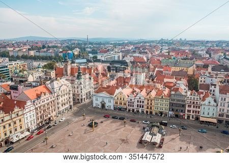 Plzen, Czech Republic, October 2017 - Aerial View From St Bartholomews Cathedral Over Republic Squar