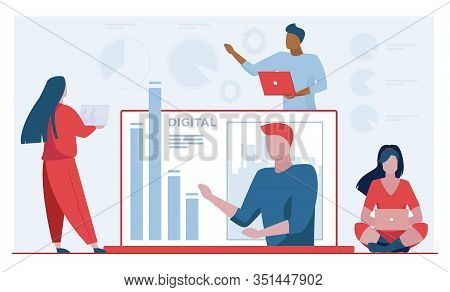Workgroup Analyzing Report. Team Using Laptops, Worker Presenting Bar Chart Flat Vector Illustration