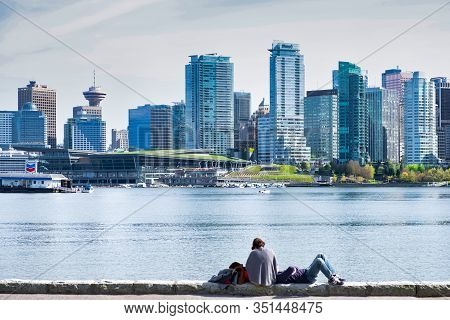 Vancouver - May 05 2019: Downtown Vancouver, Canada.view Of Downtown Vancouver, From Stanley Park, T