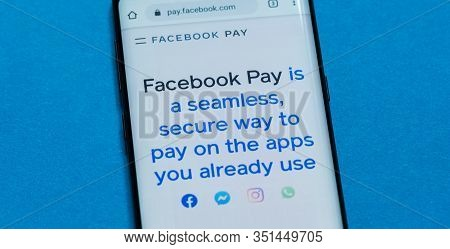Kiev, Ukraine - February 16, 2020: Close Up View Of Facebook Pay Website On The Smartphone Screen.