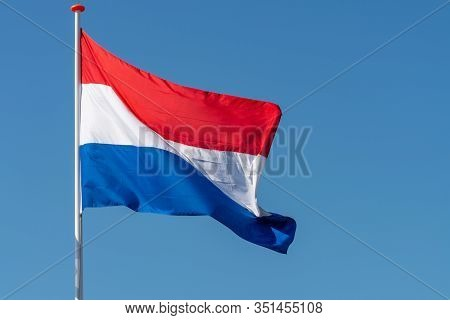 Flag Of The Kingdom Of The Netherlands, Dutch National Flag In Three Colors Red, White And Blue And