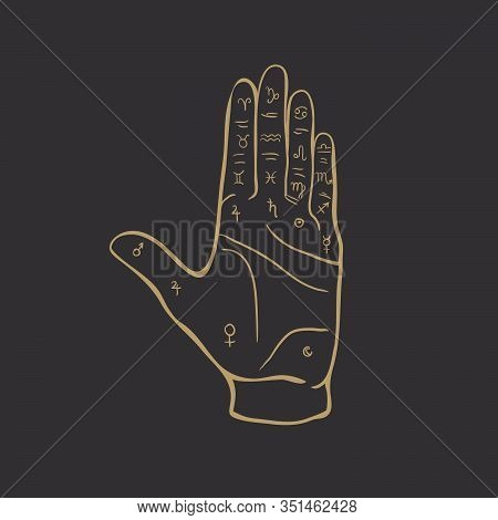 Palmistry Or Chiromancy Hand With Signs Of The Planets And Zodiac Signs Black And White Hand Drawn D